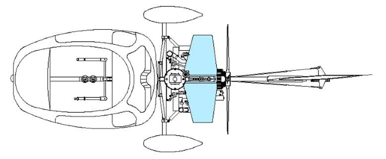 Autogyro top view stabilator