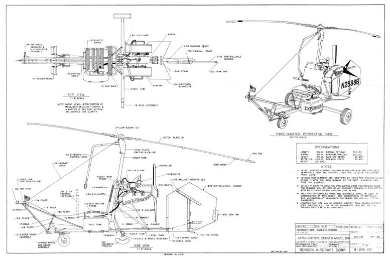 Bensen B 8 Gyro-Glider plans B 8M gyrocopter