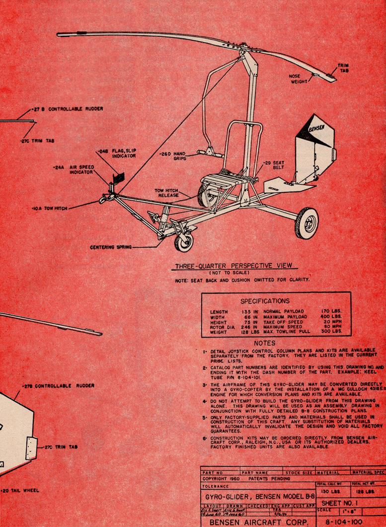 bensen gyrocopter plans set three