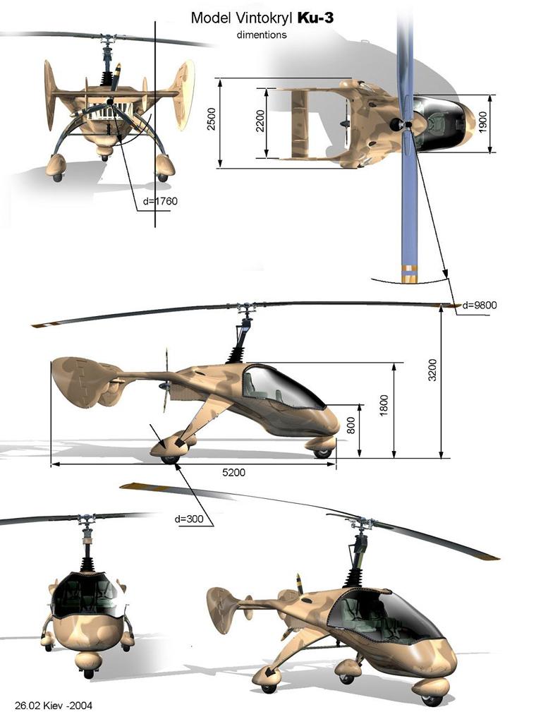 modern 3 seat gyrocopter design
